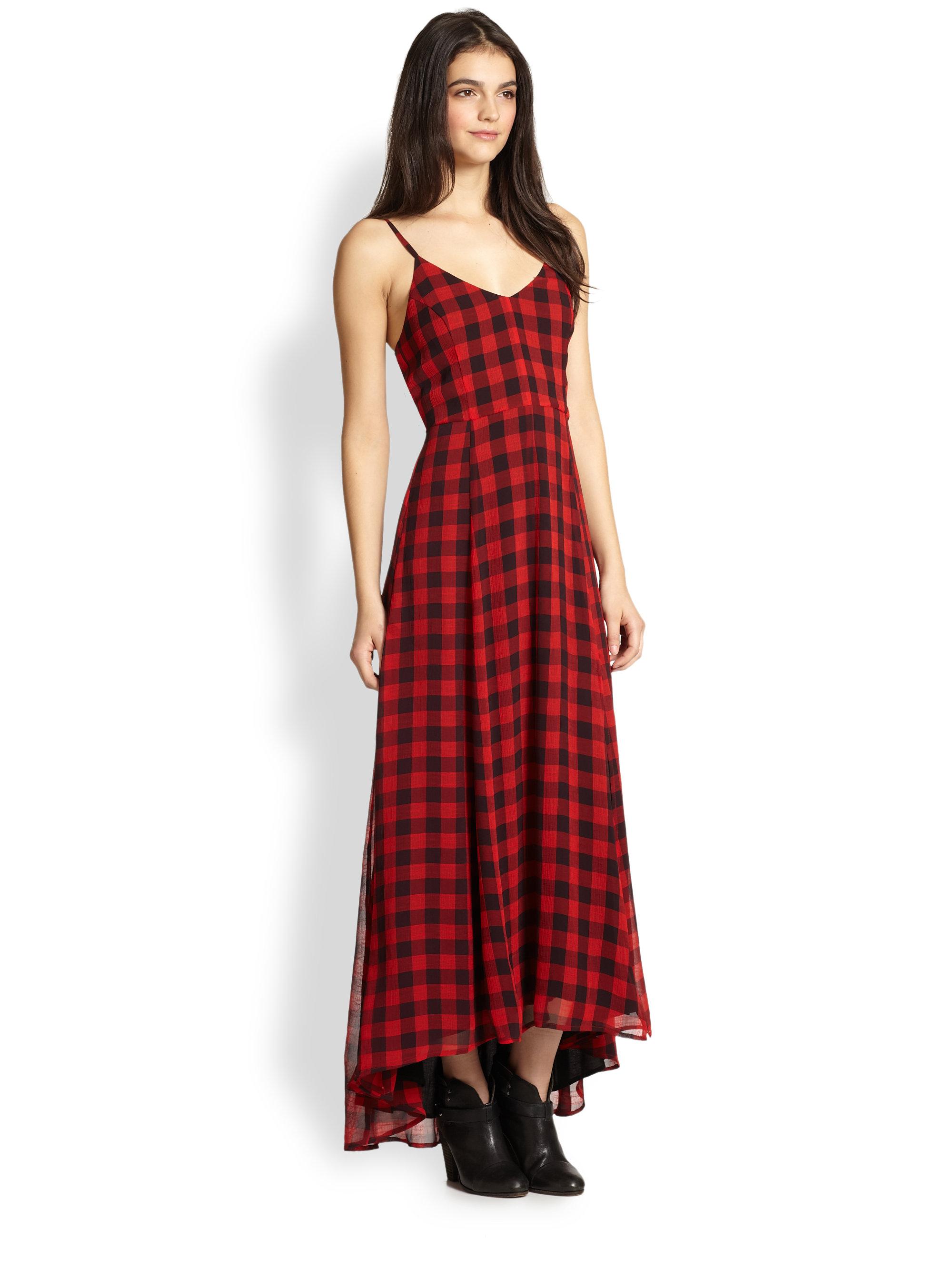 Lyst - Line & Dot Plaid Chiffon Maxi Dress in Red