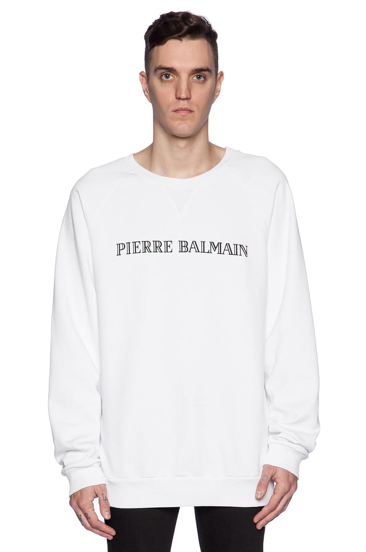 purchase original numerousinvariety best cheap Balmain White Logo-detailed Cotton Sweatshirt for men