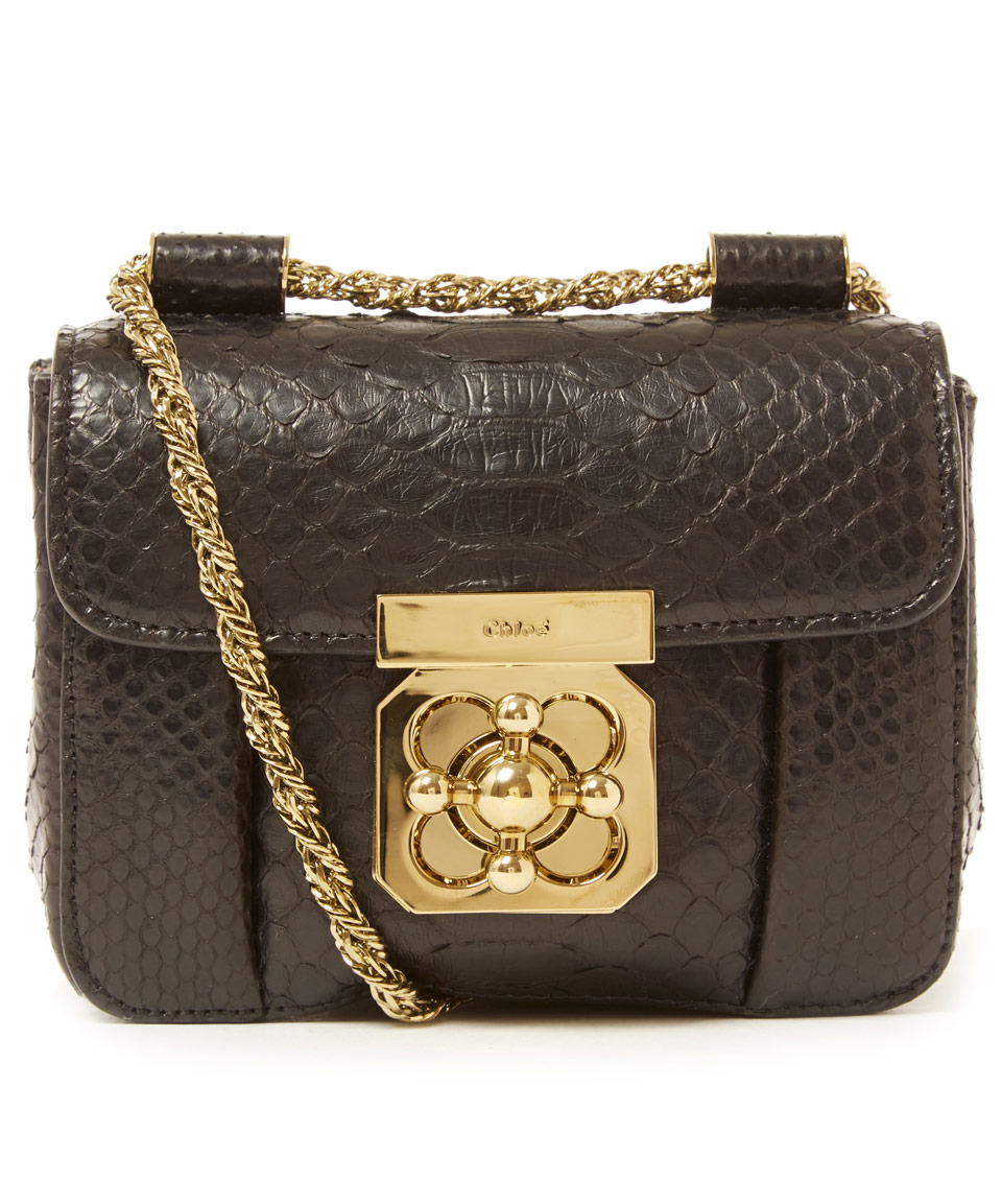 chloie bags - Chlo�� Mini Black Elsie Python Leather Bag in Black | Lyst