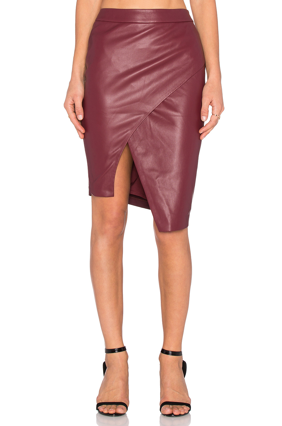 Blaque label Asymmetrical Leather Skirt in Purple | Lyst