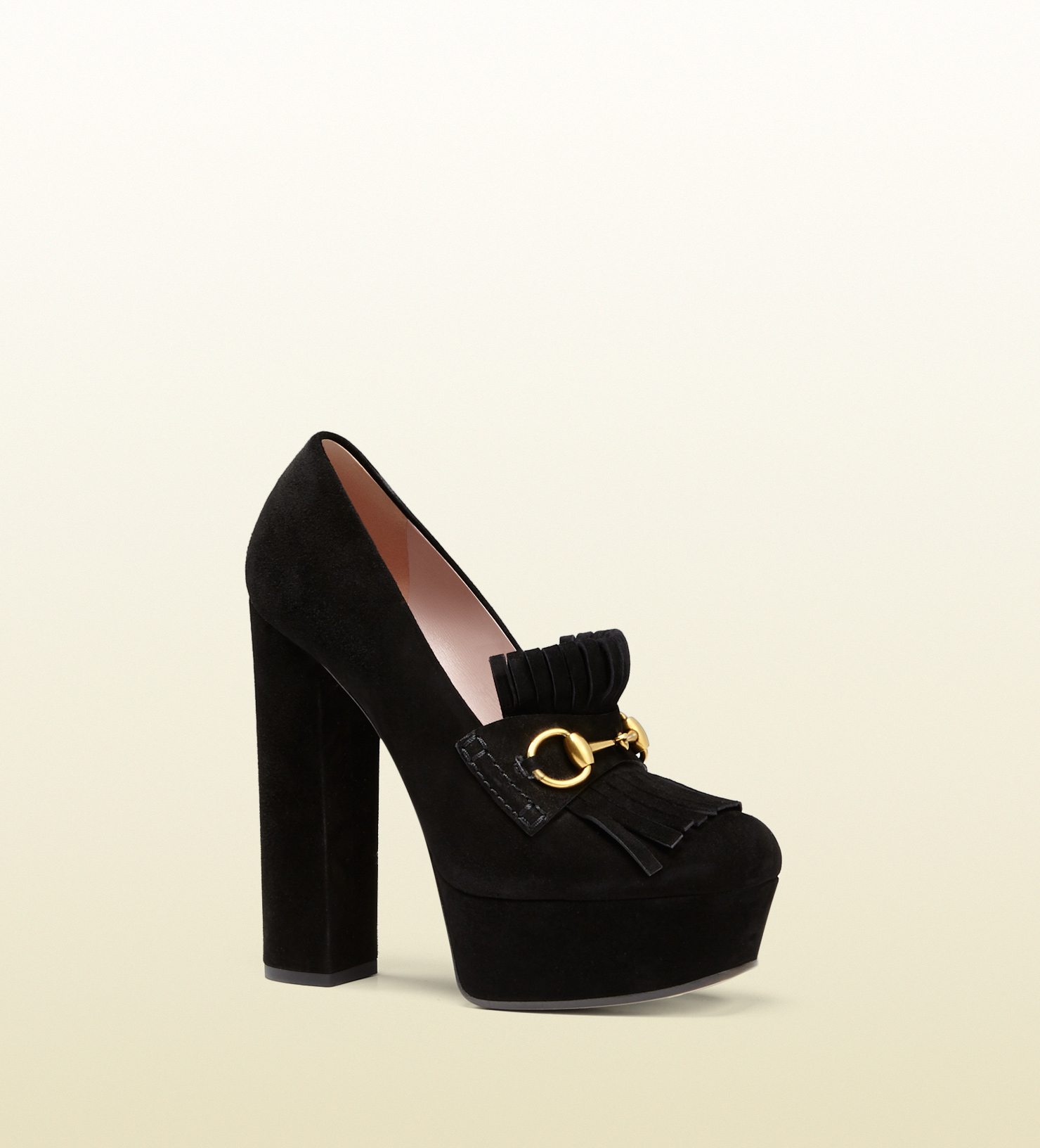 0bf3ab1d77482 Lyst - Gucci Suede Fringed Horsebit Loafer Pump in Black