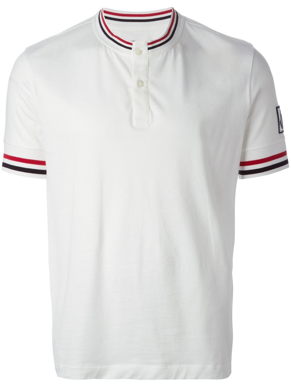 moncler gamme bleu band collar polo shirt in white for men lyst. Black Bedroom Furniture Sets. Home Design Ideas