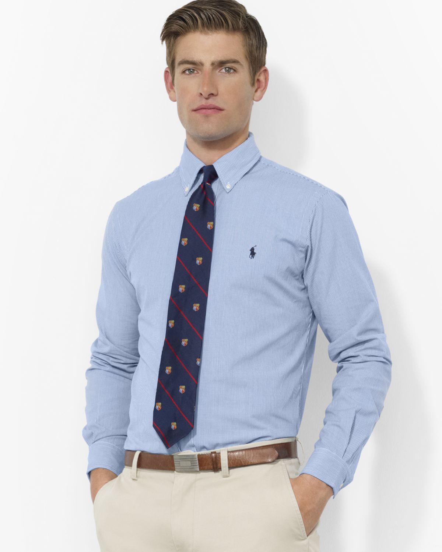 563db6e1 ... coupon lyst ralph lauren polo blue white check custom oxford shirt  ebf7b a17d7