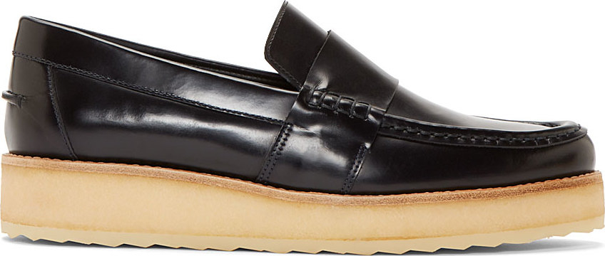 Pierre hardy navy leather penny loafers in blue for men lyst
