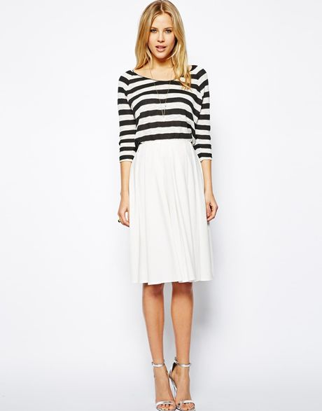 asos midi skirt in ponte with bold pleats in white