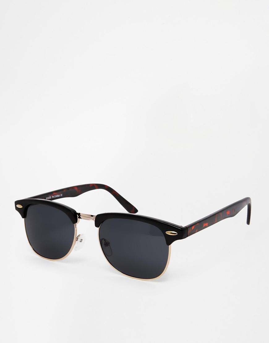 3a4e1bb6d5 ASOS Contrast Retro Sunglasses In Black And Tortoiseshell - Black in ...