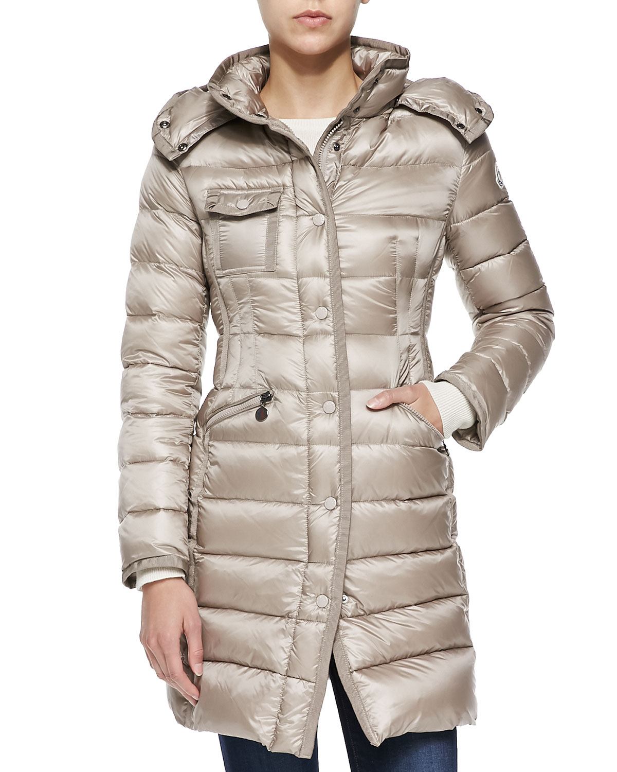 e334a5606 Lyst - Moncler Hooded Mid-length Puffer Coat in Natural
