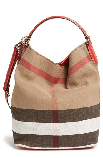 a62d9b4d096e Lyst - Burberry Brit  susanna - Medium  Bucket Bag in Red