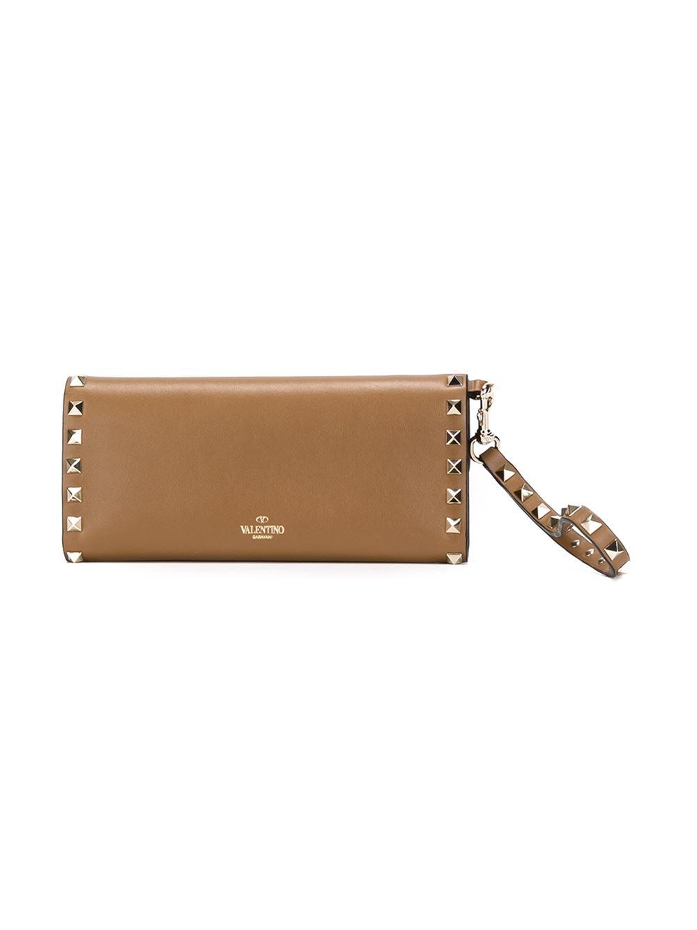 Valentino 'rockstud' Wallet in Brown | Lyst