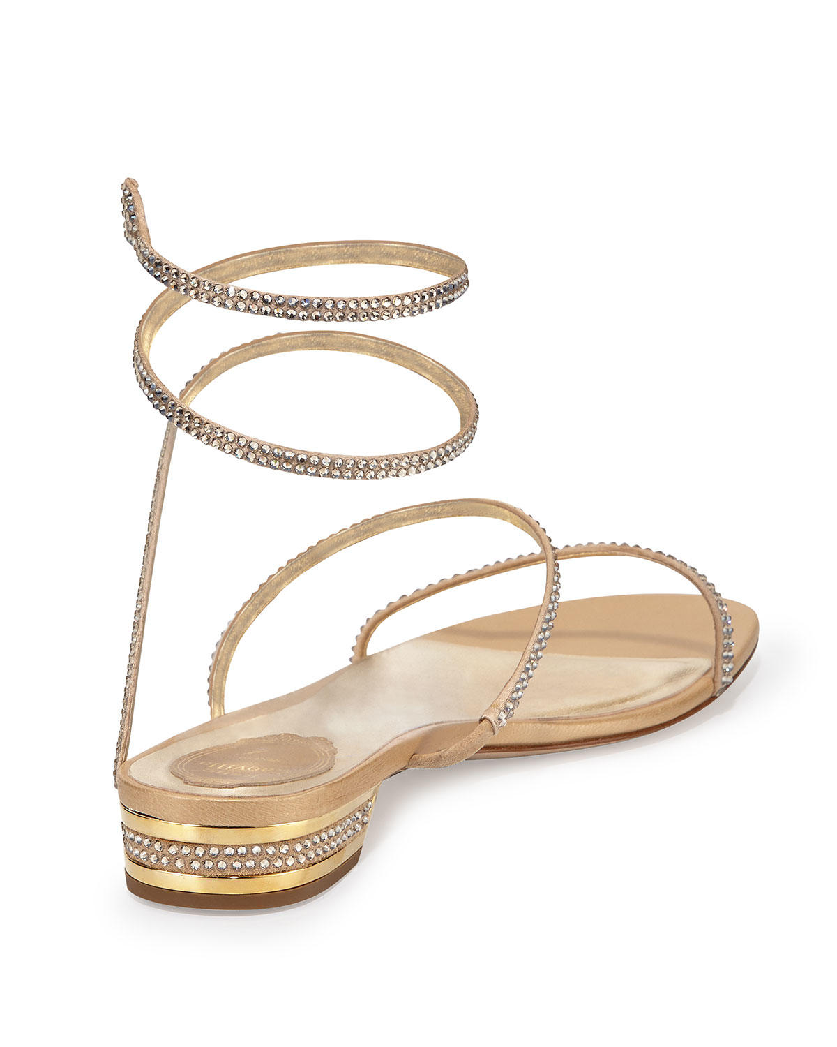 a22231df30e Lyst - Rene Caovilla Crystal Snake-Coil Flat Sandals in Metallic