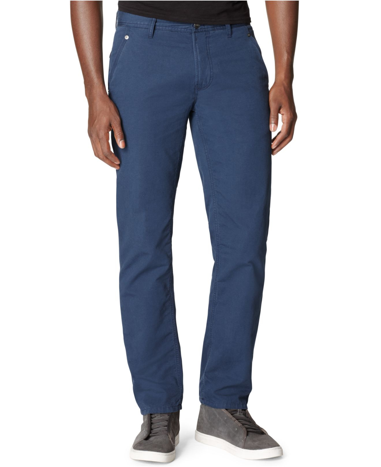calvin klein jeans slim straight pants in blue for men lyst. Black Bedroom Furniture Sets. Home Design Ideas