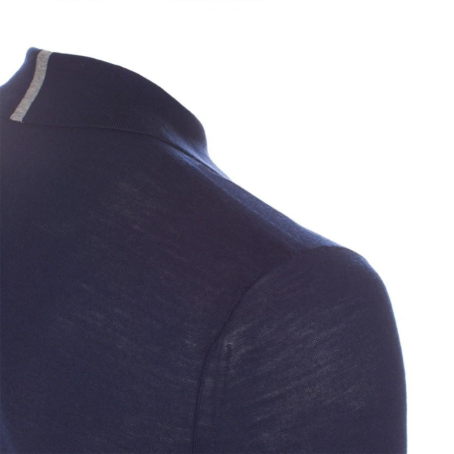 Paul Smith Men 39 S Navy Merino Wool Long Sleeve Polo Shirt
