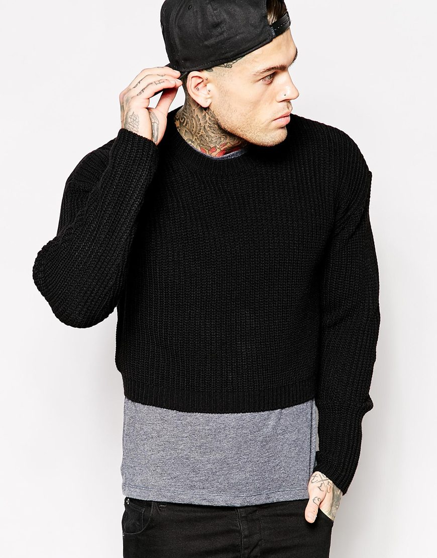 Lyst Asos Cropped Sweater In Black For Men