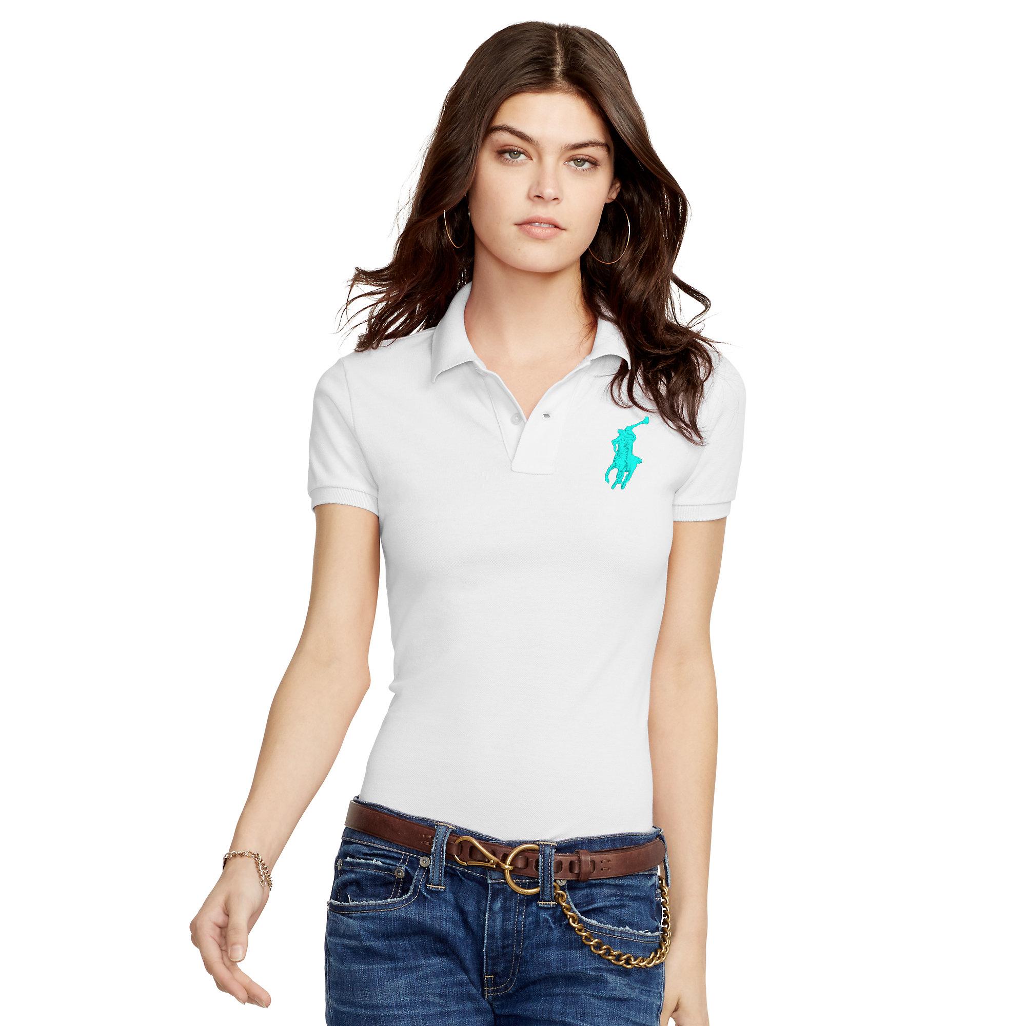 Polo Ralph Lauren. Women\u0026#39;s White Skinny-fit Big Pony Polo Shirt
