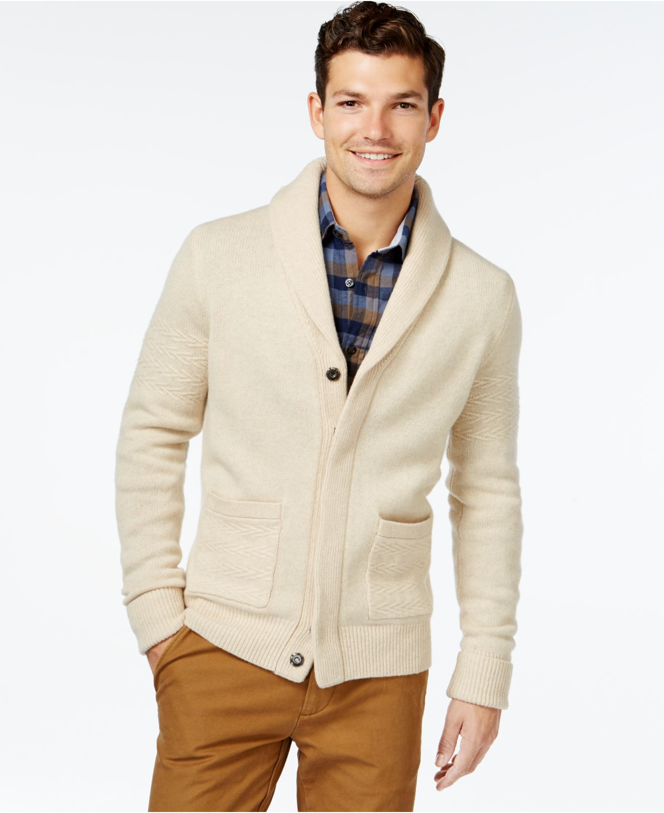 tommy hilfiger natural that way shawl collar cardigan for men lyst. Black Bedroom Furniture Sets. Home Design Ideas