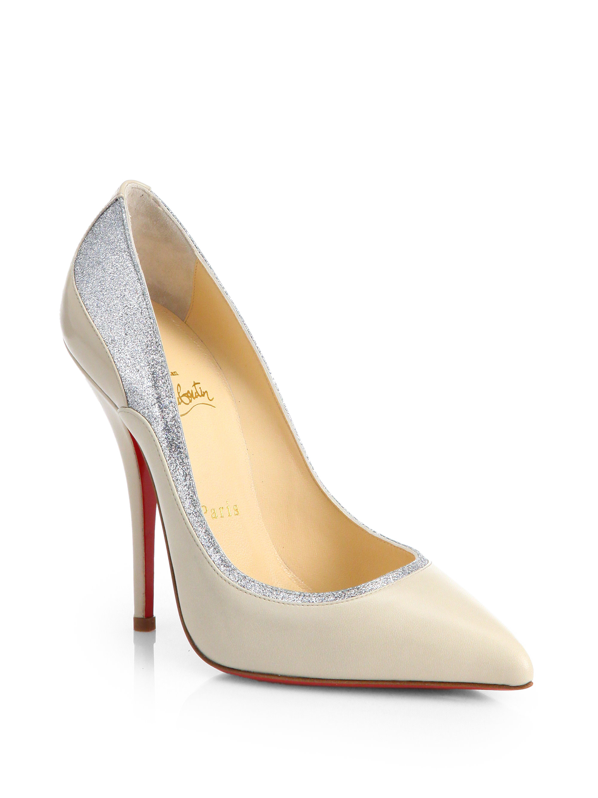 efaef6c6c3a5 ... release date lyst christian louboutin tucsy two tone leather pumps in  natural 74a32 0a2cd ...