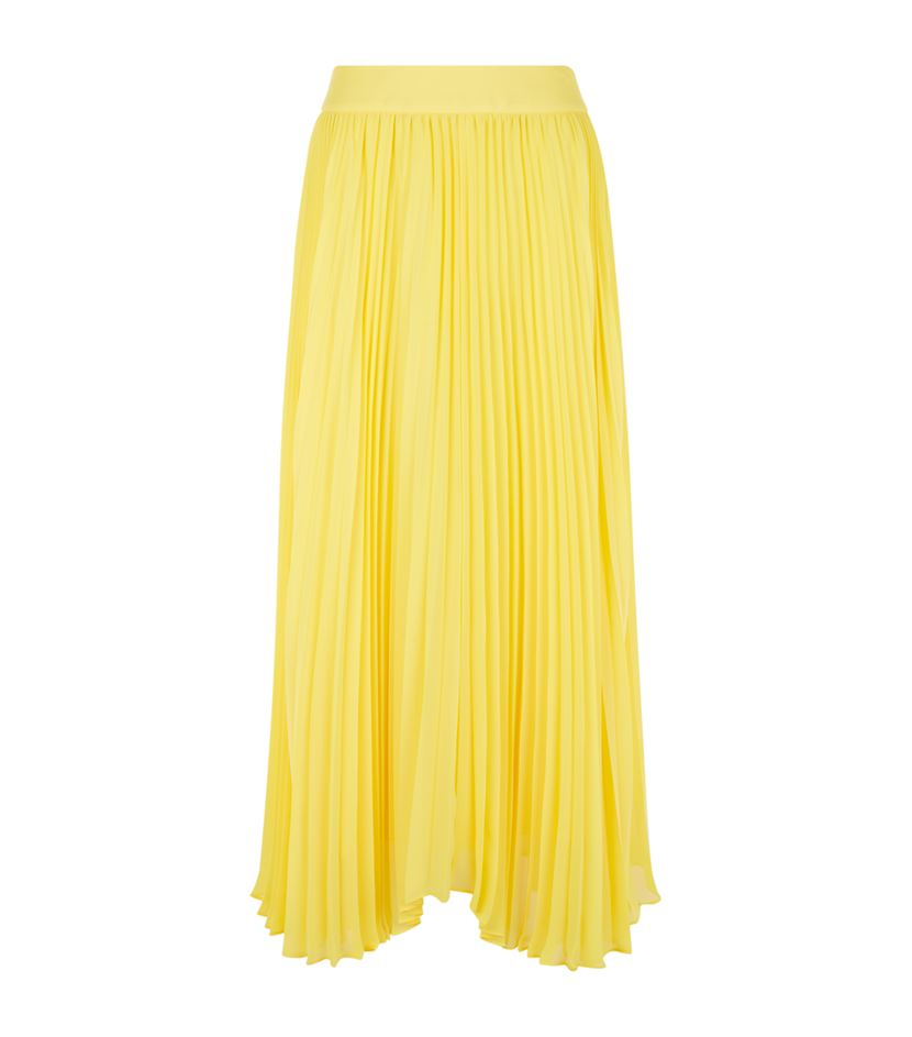 pleated maxi skirt in yellow lyst