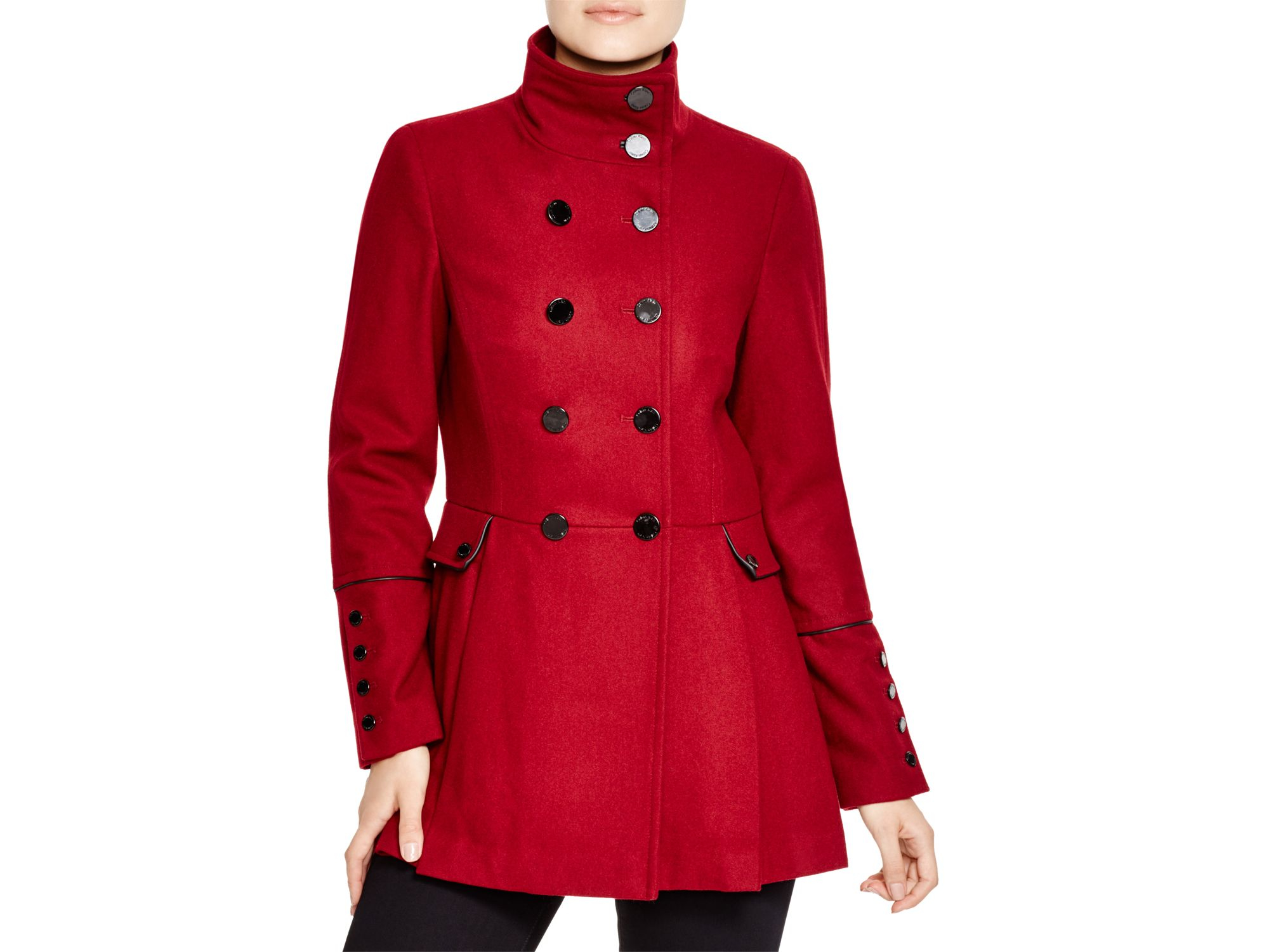 Calvin klein Military Style Pea Coat in Red | Lyst