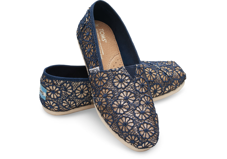 Toms Gold Navy Crochet Glitter Women S Classics In
