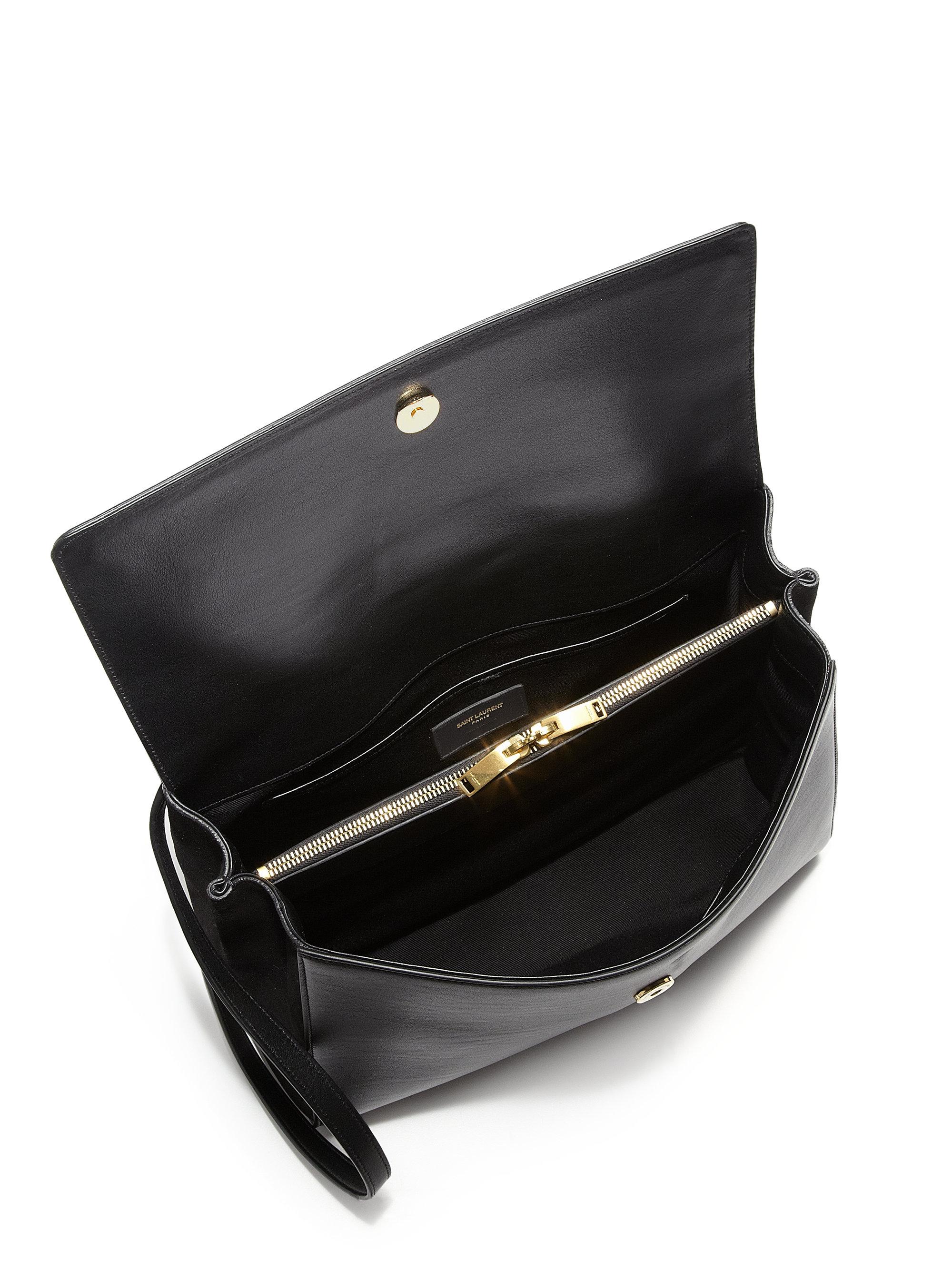 b0f45246644 Saint laurent Medium Leather  u0026amp  Suede Moujik Satchel in Black (NERO  .. classic medium kate monogram ...