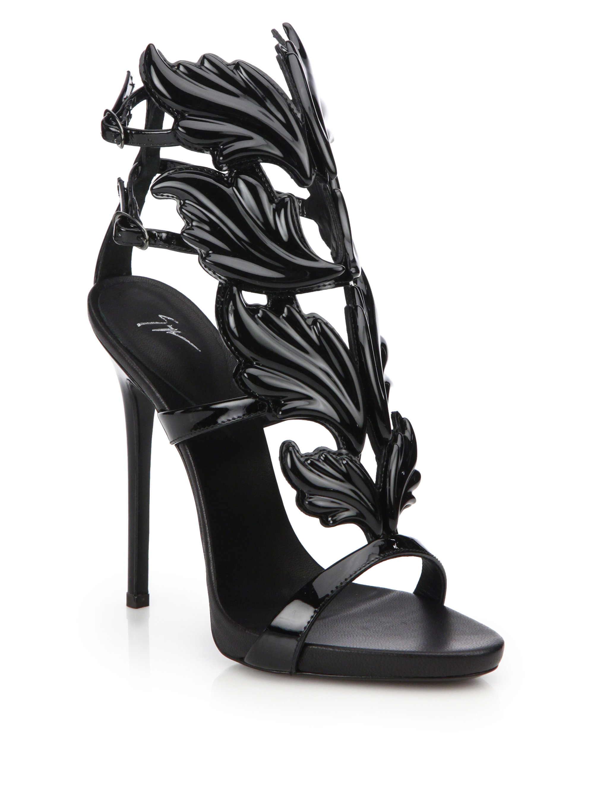 d606174e8 ... reduced lyst giuseppe zanotti metallic leather wing sandals in black  b540b 5db6b