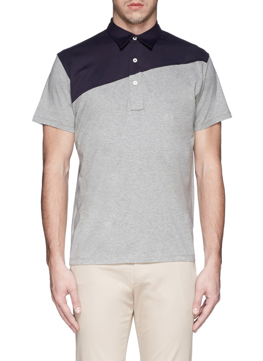 Ps By Paul Smith Slant Contrast Yoke Jersey Polo Shirt In Gray For Men Lyst