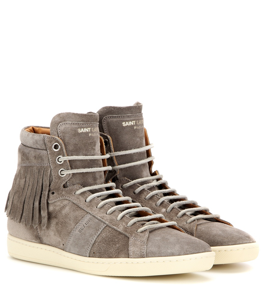 saint laurent fringed suede high top sneakers in gray lyst. Black Bedroom Furniture Sets. Home Design Ideas