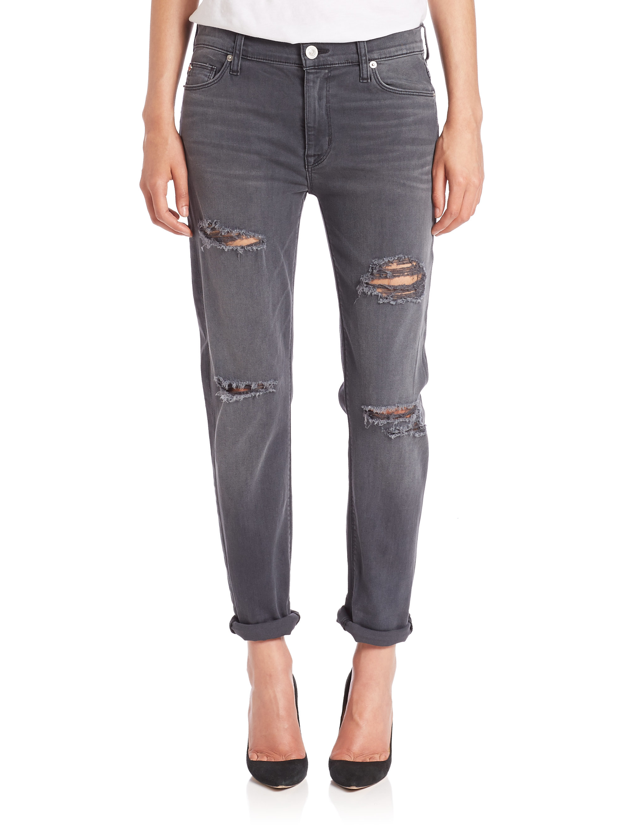 Hudson jeans Brody Distressed Slim Boyfriend Jeans in Gray | Lyst