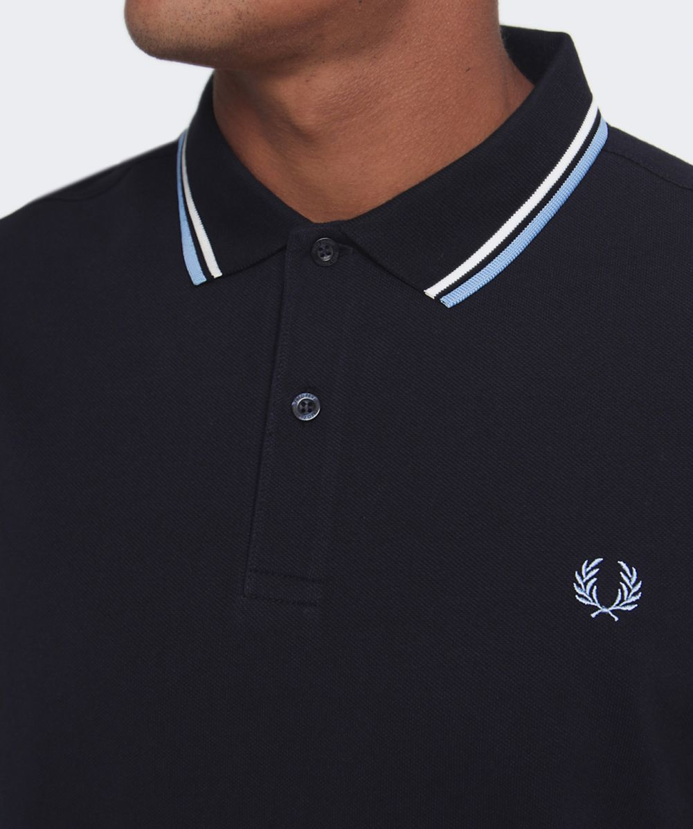 bd1a7513d Fred Perry Long Sleeved Twin Tipped Polo Shirt in Blue for Men - Lyst