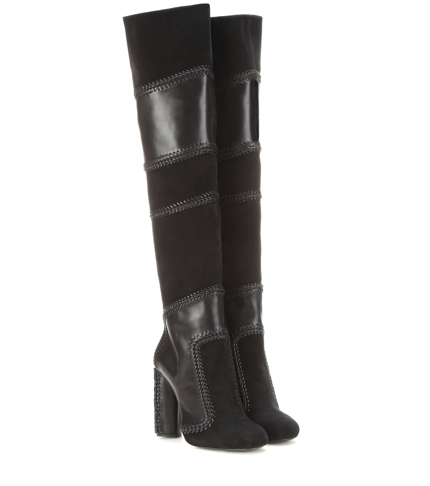 tom ford suede and leather the knee boots in black lyst