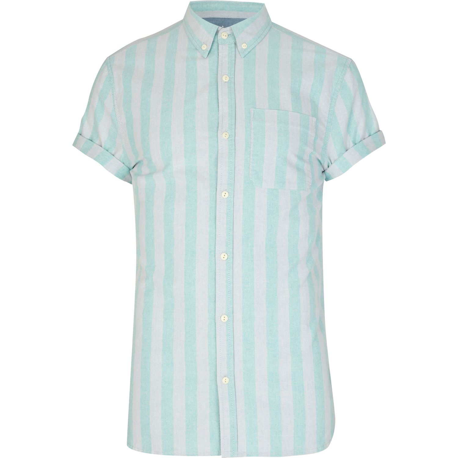 River Island Mint Green And Grey Striped Shirt In White