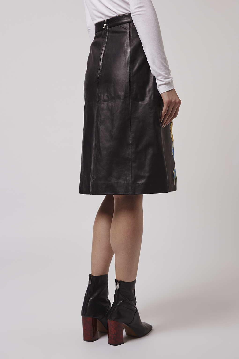 topshop embroidered leather midi skirt in black lyst