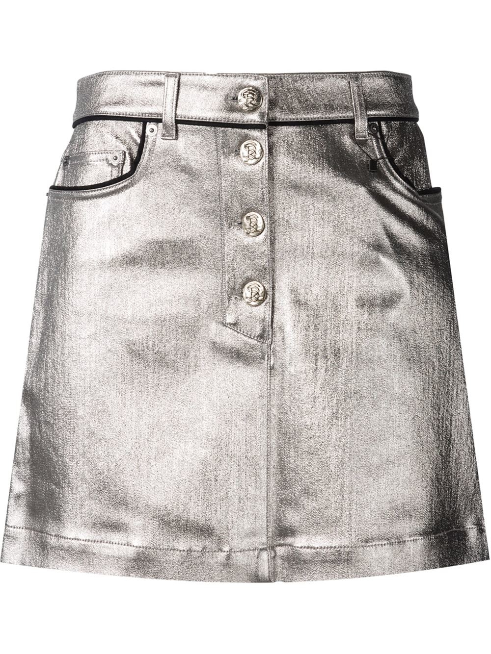 Sonia rykiel Metallic Coated Denim Skirt in Gray | Lyst