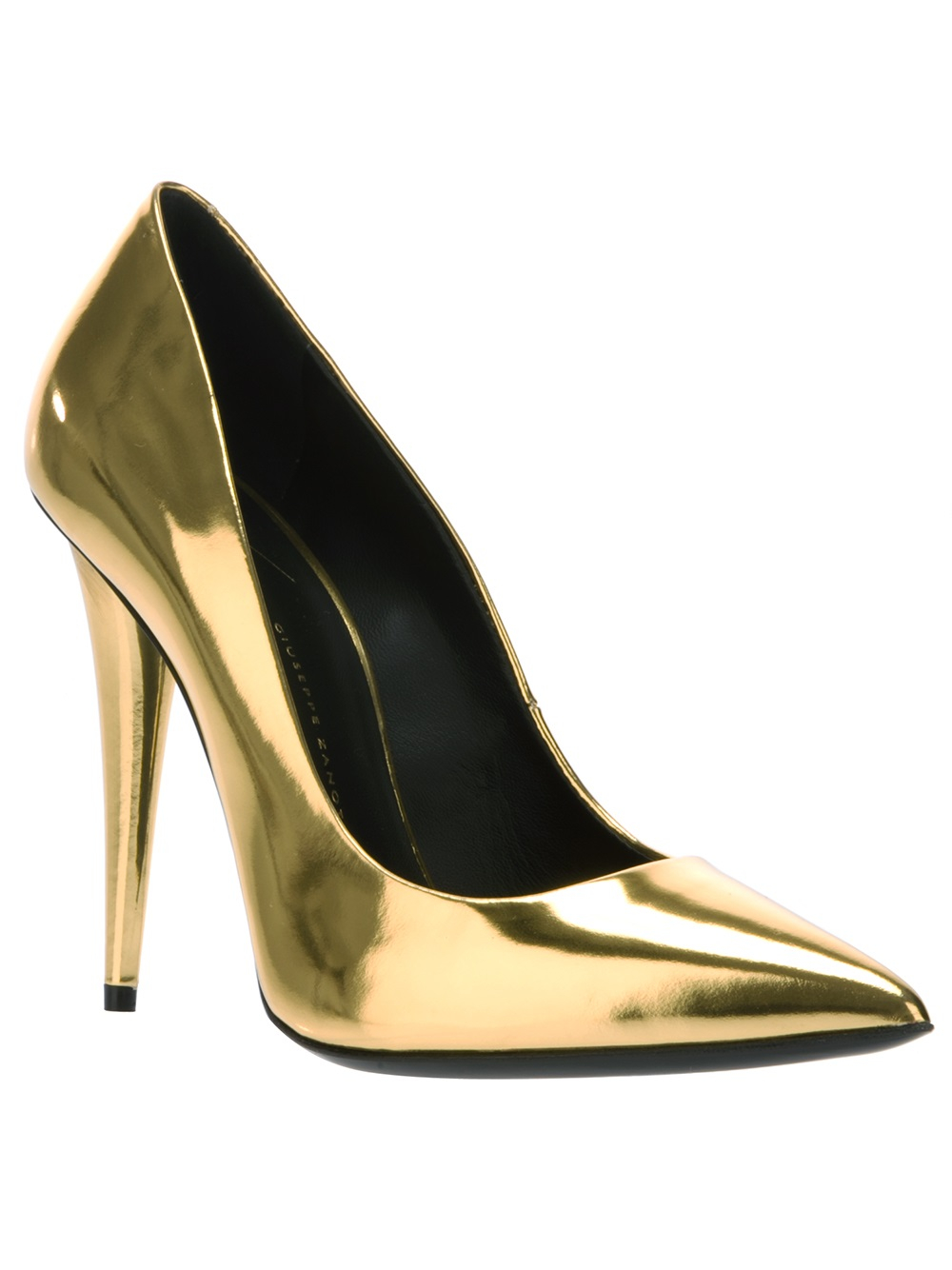 giuseppe zanotti metallic pointed pump in metallic lyst. Black Bedroom Furniture Sets. Home Design Ideas
