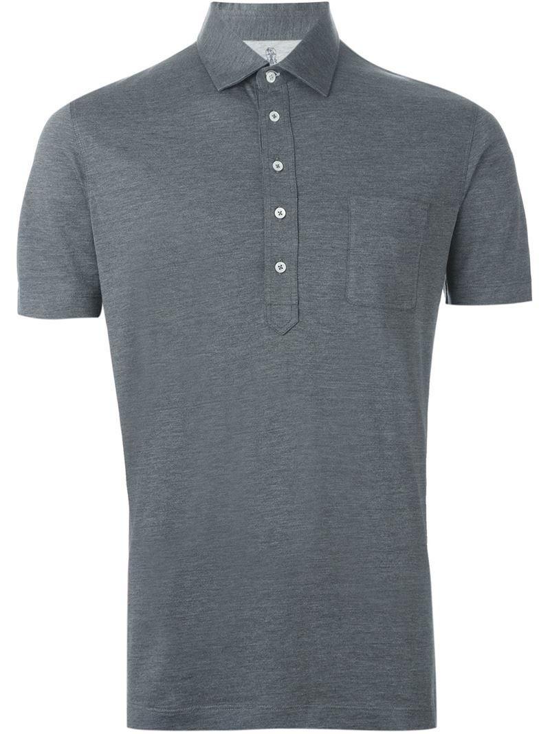 Brunello cucinelli chest pocket polo shirt in gray for men for Men s polo shirts with chest pocket