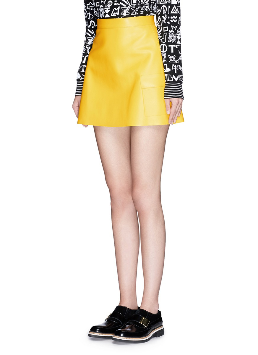 Msgm Faux Leather Mini Skirt in Yellow | Lyst