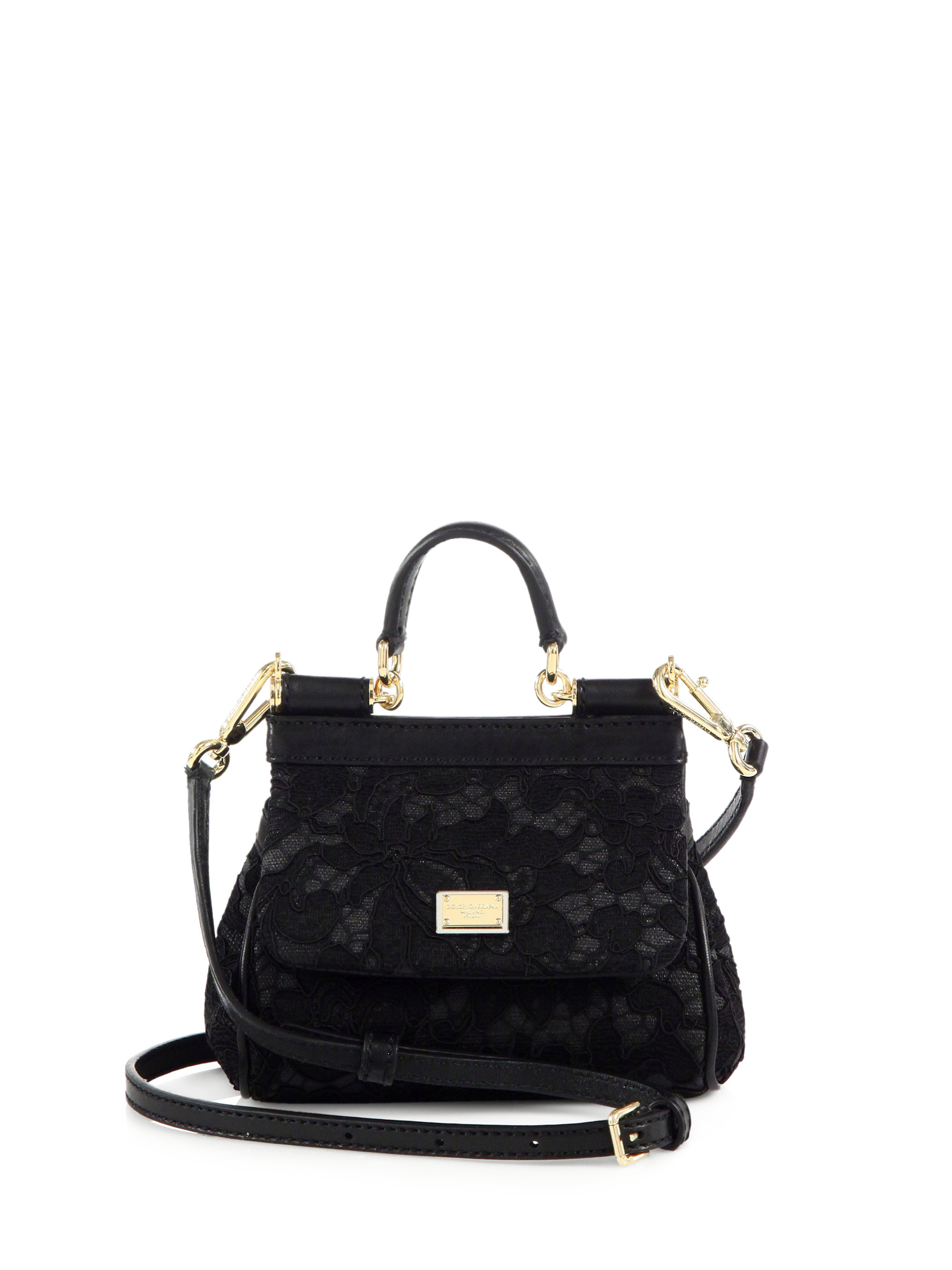 025c14a7f4cf Lyst - Dolce   Gabbana Miss Sicily Lace Mini Crossbody Bag in Black