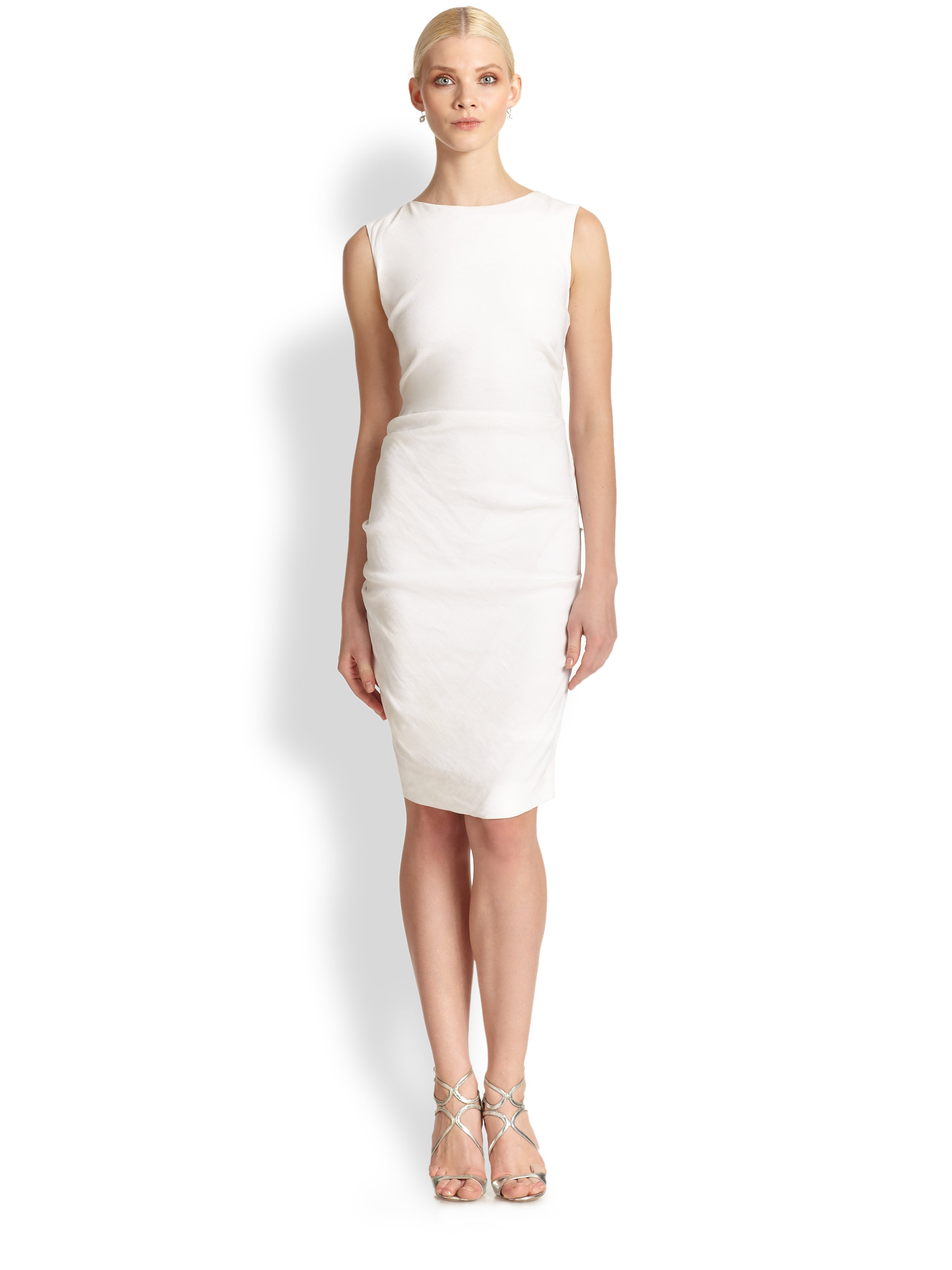 Nicole miller Tucked Sheath Dress in White | Lyst