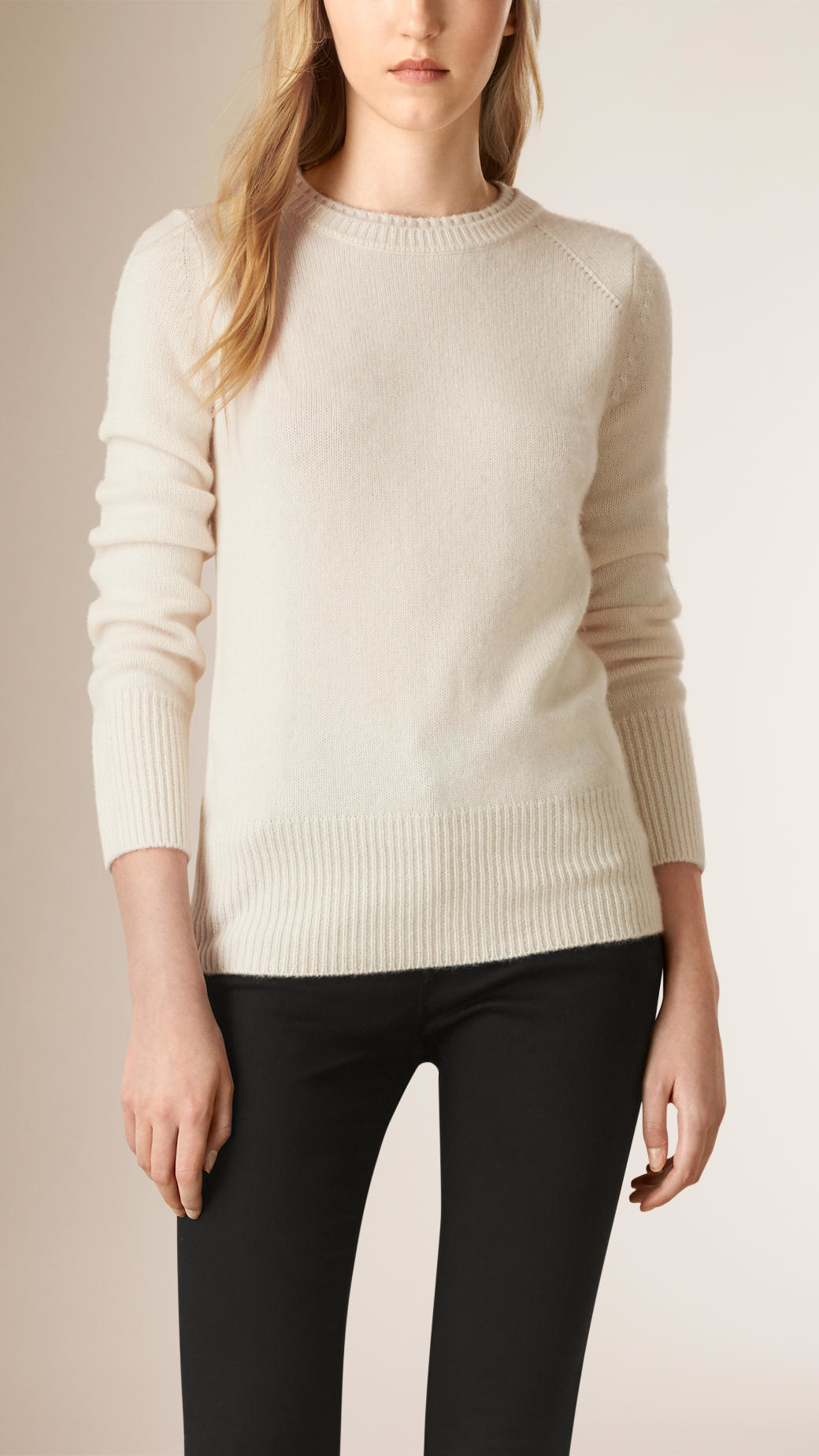 Burberry Crew Neck Cashmere Sweater Natural White in Natural | Lyst