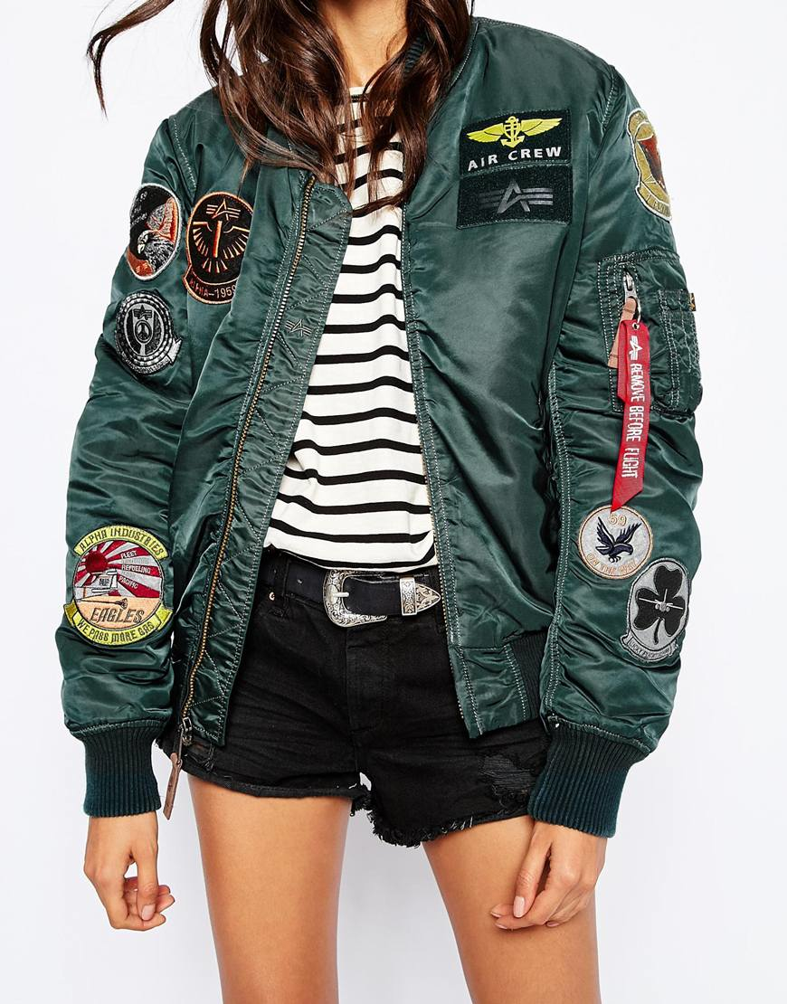 Lyst - Alpha Industries Ma1 Pilot Bomber Jacket With All Over Patch Detail In Blue