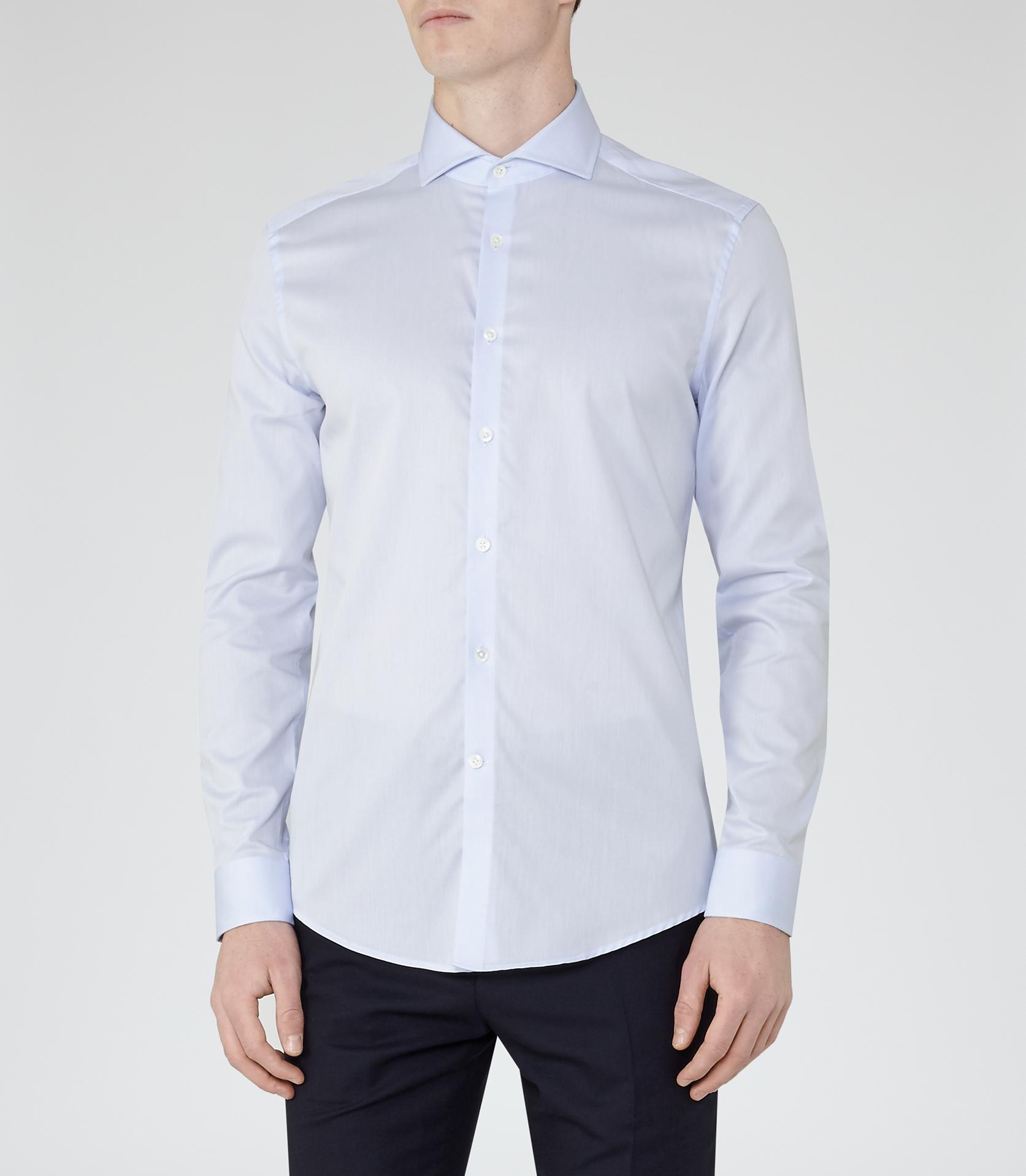 Reiss Angelo Cutaway Collar Shirt In Blue For Men Lyst