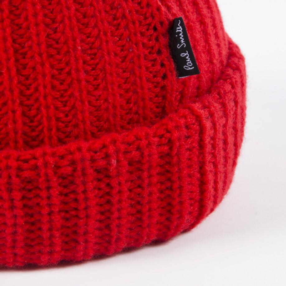 Lyst - Paul Smith Red Ribbed Knit Wool Beanie Hat in Red for Men a154ed2d036