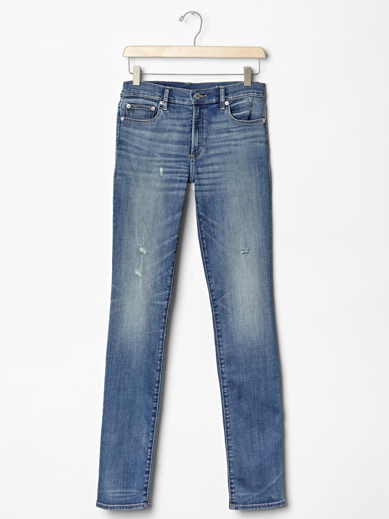 Gap 1969 Destructed Resolution Slim Straight Jeans in Blue (vintage blue) - Save 10% | Lyst