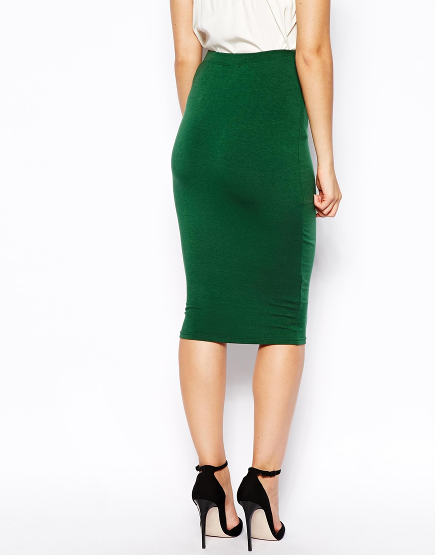 ax jersey pencil skirt in green lyst
