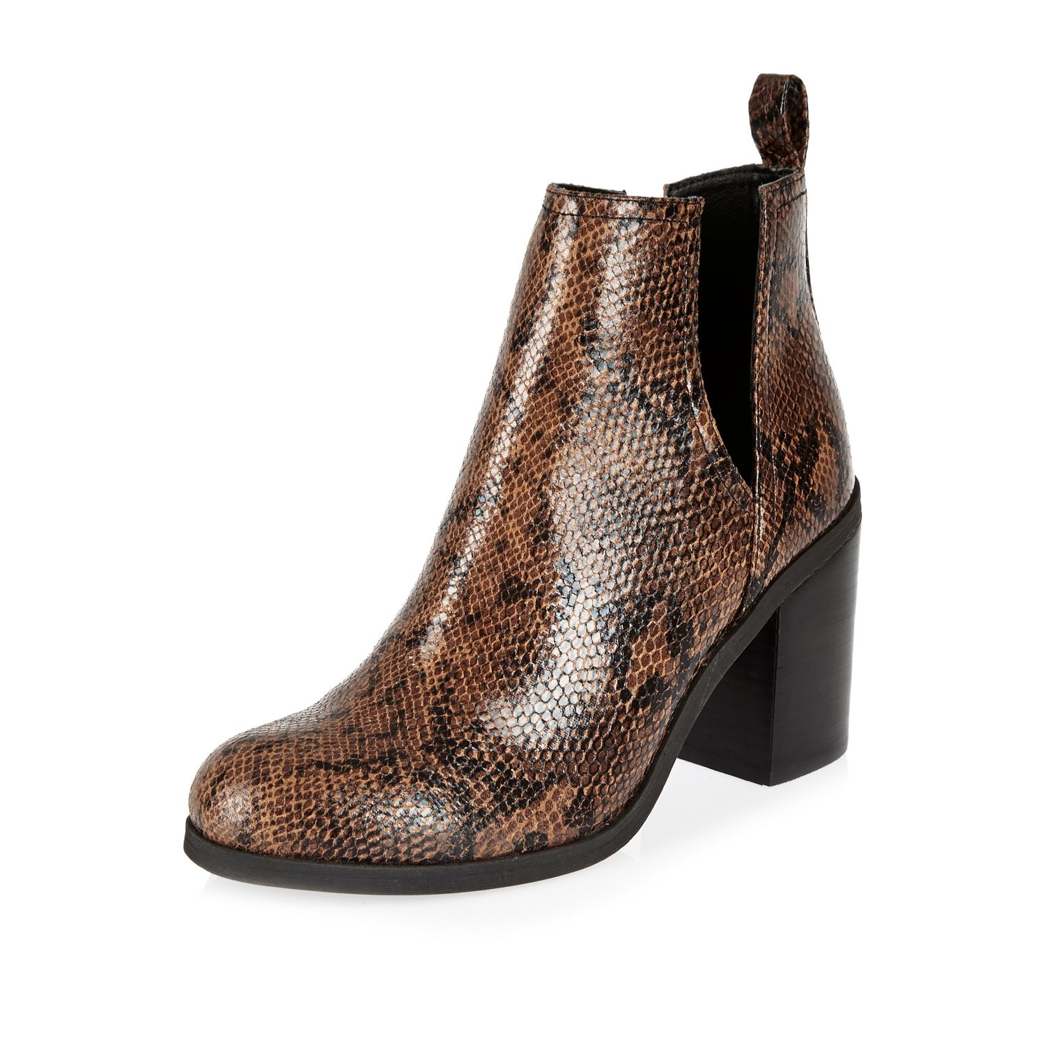 river island brown snake print cut out ankle boots lyst