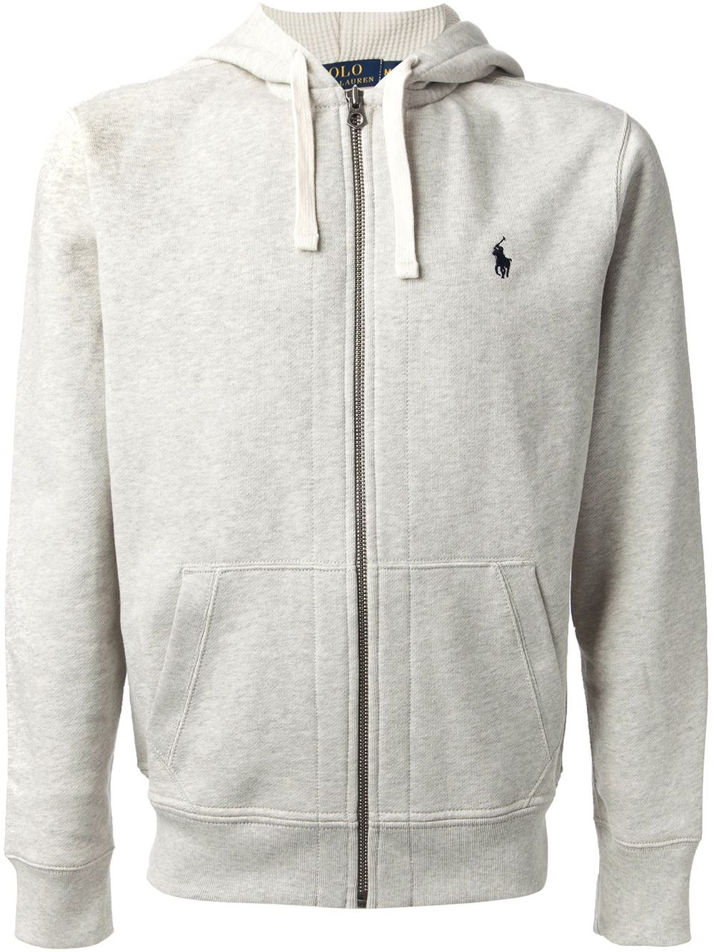 Polo Ralph Lauren Zip Up Hoodie In Gray For Men | Lyst