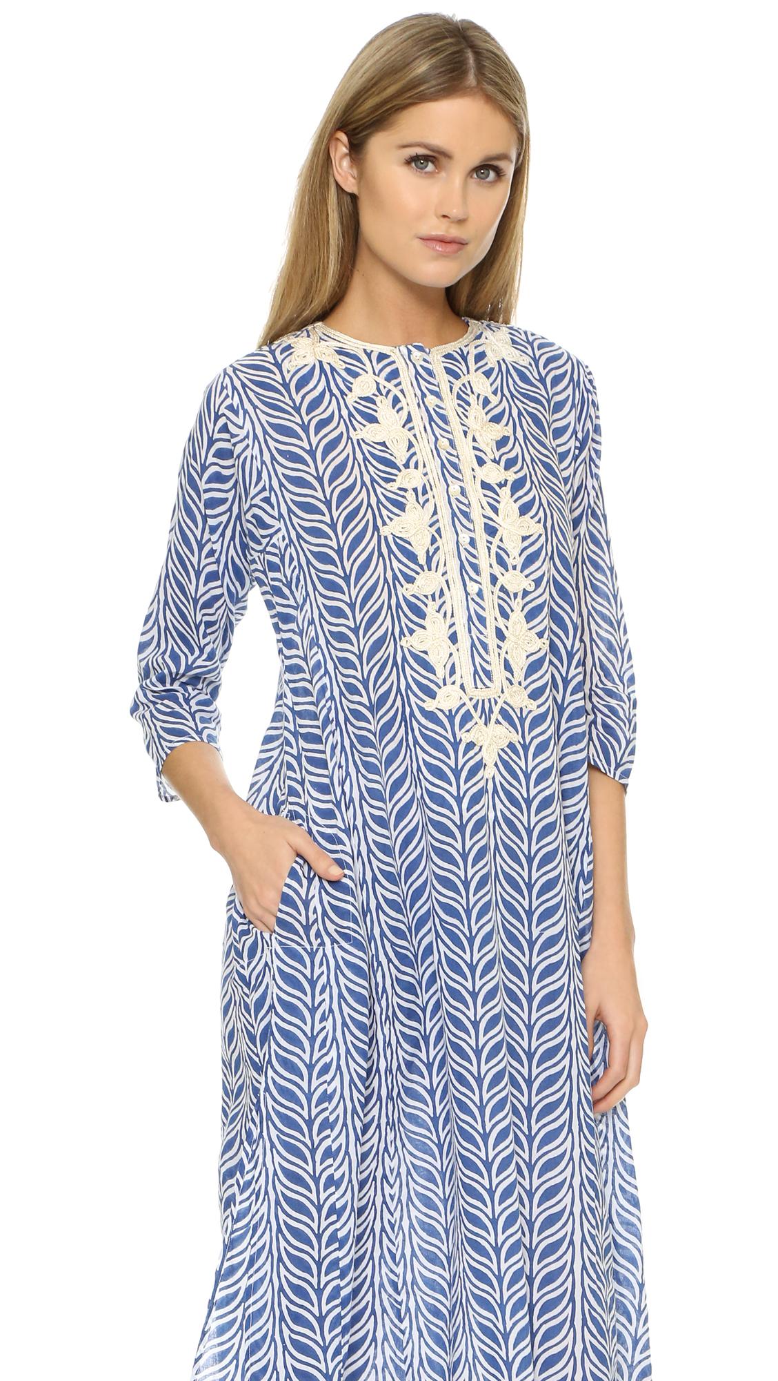 Roberta Roller Rabbit Long Meena Kurta Dress In Blue Lyst