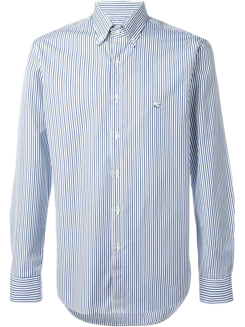 Etro Striped Button Down Shirt In Blue For Men Save 66