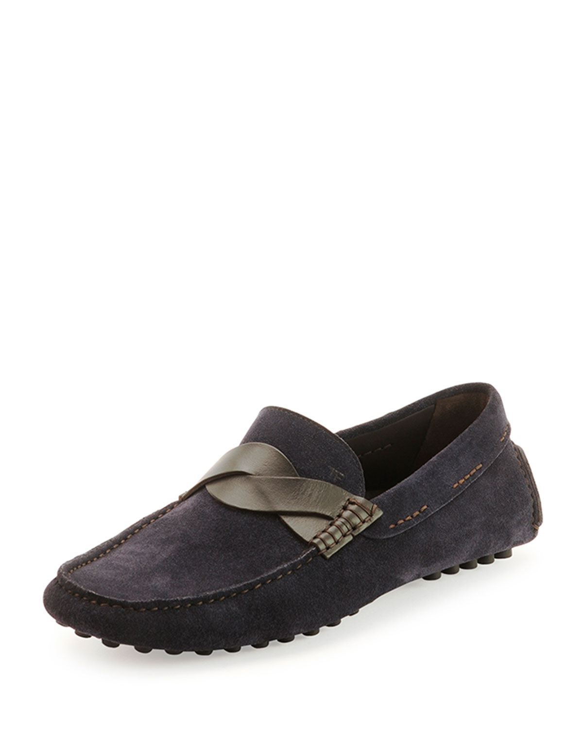 tom ford samuel twist front driver shoes in blue for