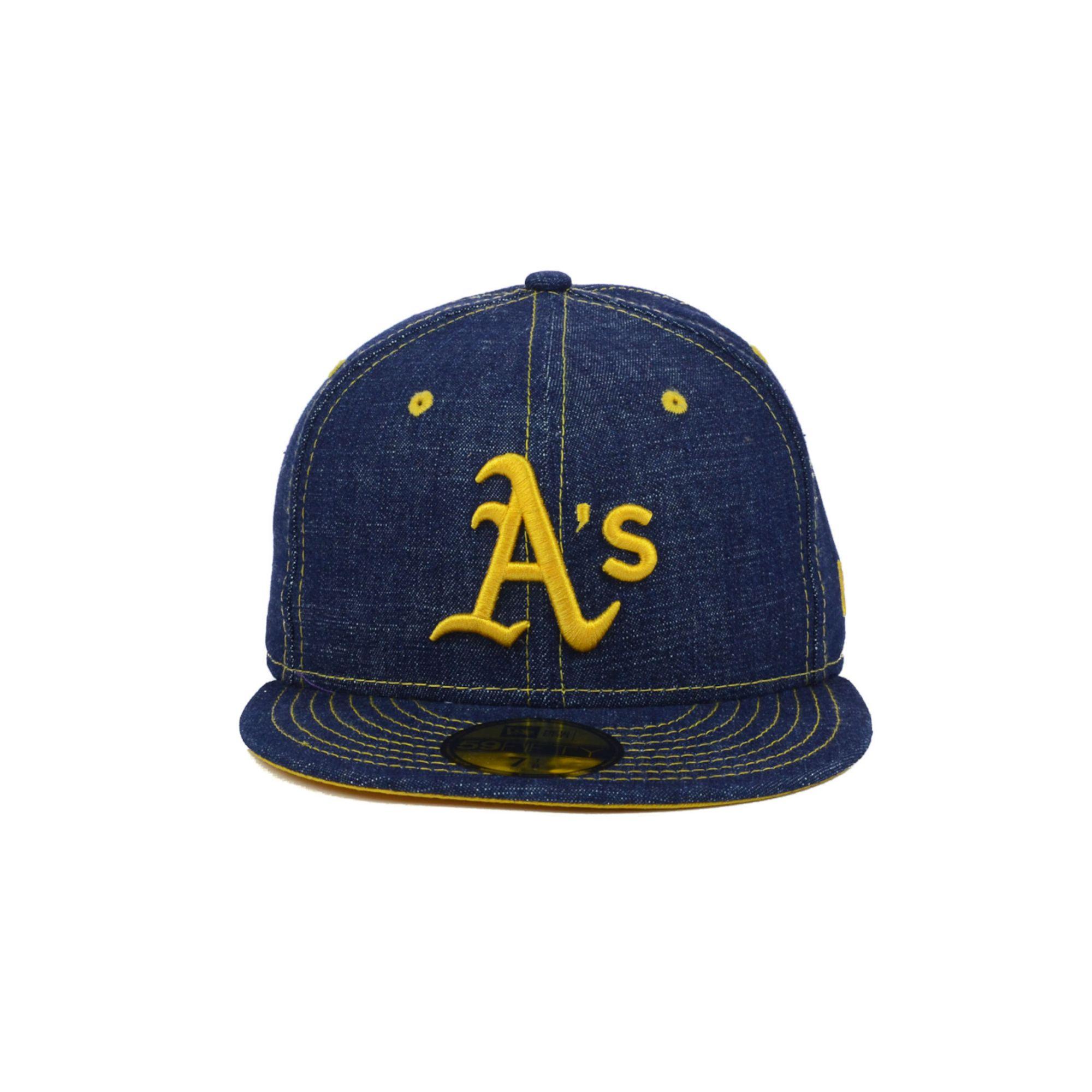 fa6ded4a08f ... top quality oakland athletics hats lyst ktz oakland athletics mlb  classic denim 59fifty cap in blue
